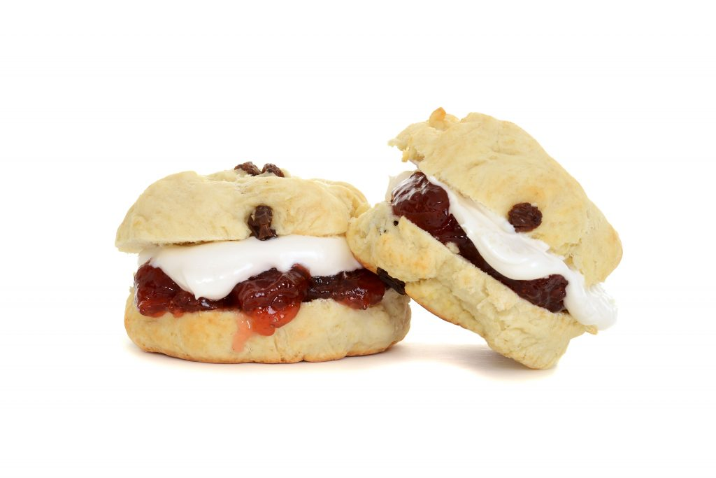 two scones with cream and jam_shutterstock_282865712
